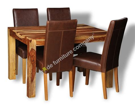 cube sheesham wood dining table and leather chairs