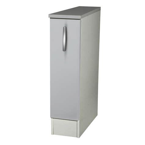 meuble bas cuisine 30 cm largeur meuble de cuisine bas 1 porte gris aluminium h86x l15x