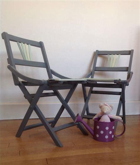 chaises pliantes en bois vintage enfant  renovees par