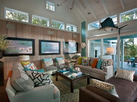 hgtv livingroom coastal living room with neutral sofas and brown chaise