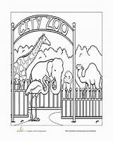 Zoo Coloring Town Paint Worksheets Pages Preschool Animal Sheets Worksheet Places Animals Community Activities Education Printable Books Local Street Play sketch template