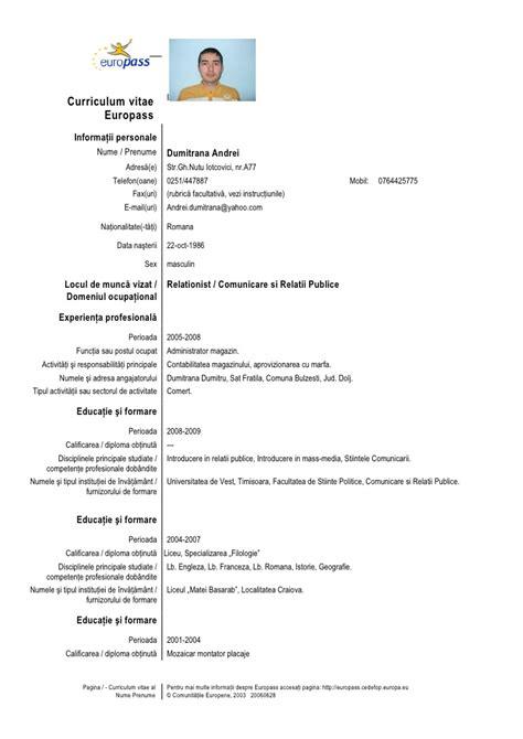Model Cv Template by Cv Template Ro Ro