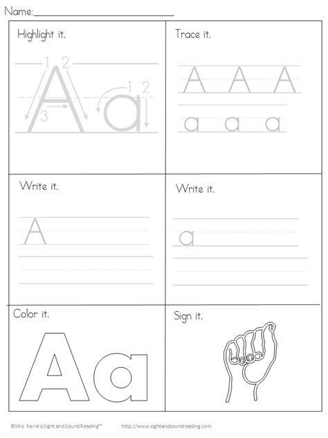 printable handwriting worksheets  kids easy