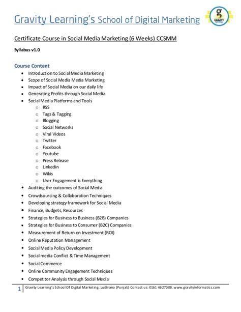 Social Media And Marketing Course by Social Media Marketing Course Syllabus Ccsmm