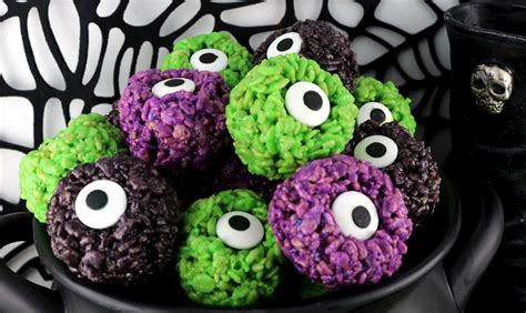 monster eye balls rice krispie bites  sisters