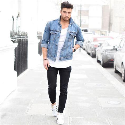 jean jacket outfits  men denim jacket outfits