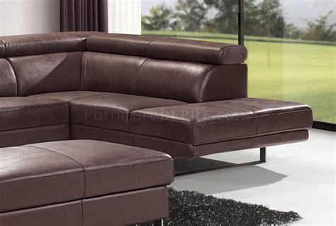 Modern Sofa Legs by Brown Top Grain Leather Modern Sectional Sofa W Metal