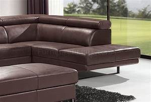 brown top grain full leather modern sectional sofa w metal With sectional sofa metal legs