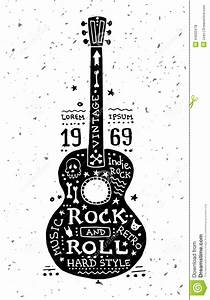 Illustration Of Vintage Grunge Label With Guitar Stock