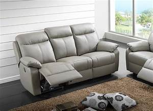 Canape 3 places cuir relax victory gris for Canapé relax 3 places cuir