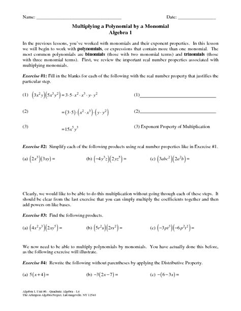 Multiplying Polynomials By Monomials Worksheet Pdf  Polynomials Lessons Tes Teachmultiplying