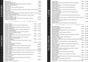 cuisine menu list indian food menu list