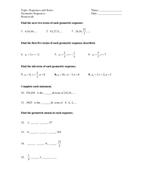 counting number worksheets 187 sequences worksheets nth term