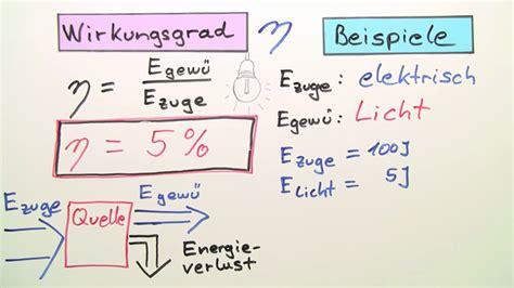 thermische leistung und wirkungsgrad physik  lernen