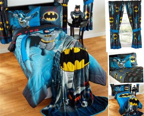 9pc dc batman full double comforter sheets curtains bed in a bag room ebay