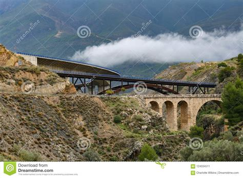 three viaducts spain near granada mountainous terrain bridge andalusia road