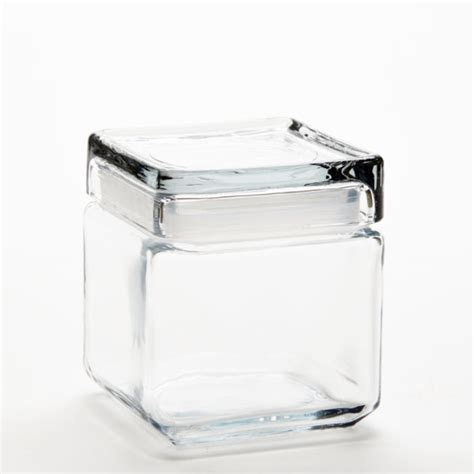 32 oz. Anchor Square Jar with Glass Lid   Jar Store