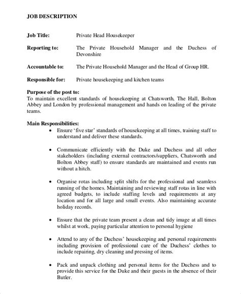 Housekeeper Job Description Example  14+ Free Word, Pdf. Executive Director Resume Cover Letter. Resume Experience Section. How To List Education On Resume If Still In College. Resume Title Example. Second Job Resume. How To List Certifications On Resume. Good Qualifications For Resume. Sample Of Qualifications In Resume