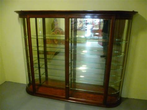 antique shop display cabinets for quality antique mahogany bow fronted glass wall 9032