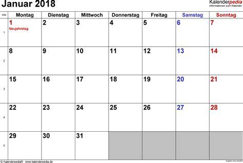 kalender januar als excel vorlagen