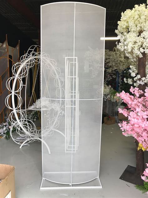 curved shape metal mesh backdrop stand event decor supply