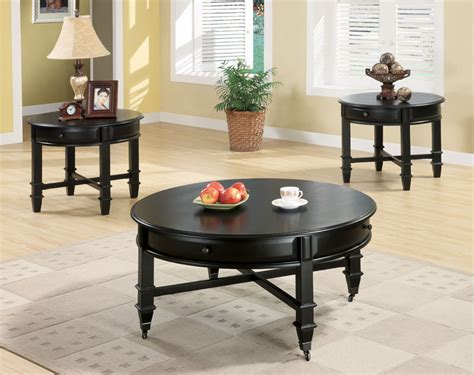 black round coffee table set black coffee table sets for unique your living spaces look