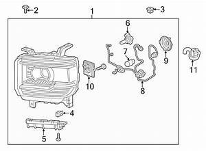 Gmc Sierra 1500 Headlight Wiring Harness  2014 Led