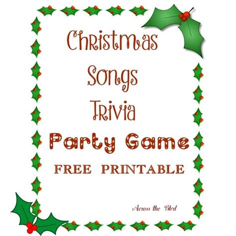 The premise of this party game (a raunchier version of the original) is simple: Christmas Song Trivia Party Game | Across the Blvd | Christmas song trivia, Free christmas songs ...