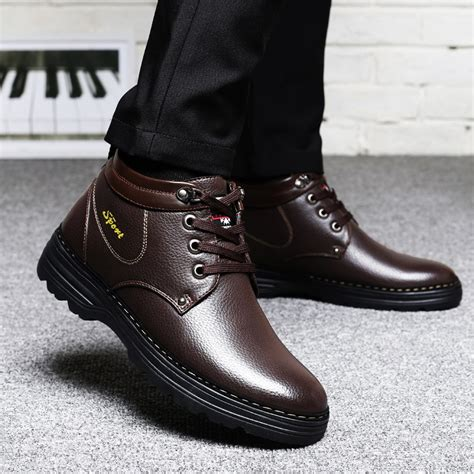 New Winter Warm Big Size Men Lace Leather Fur Boots