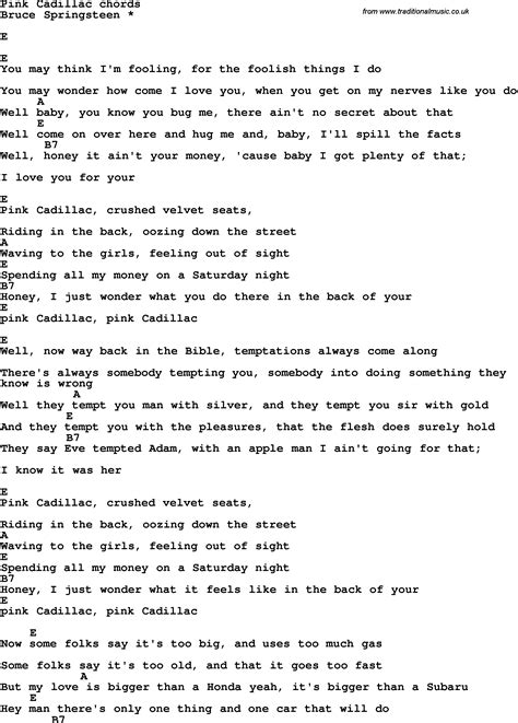 Lyrics To Pink Cadillac by Song Lyrics With Guitar Chords For Pink Cadillac