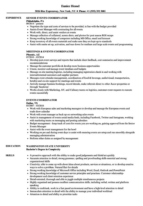 Event Coordinator Resume by Events Coordinator Resume Sles Velvet