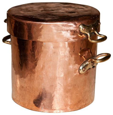 large copper pot with lid and castellated joints traditional specialty cookware by 1stdibs