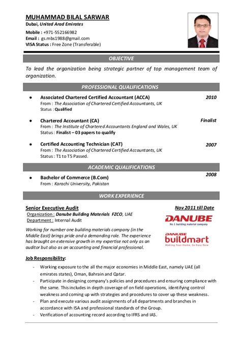 Professional Accountant Resume Format by Resume Cv Acca Sle Free Resume Cv Exle