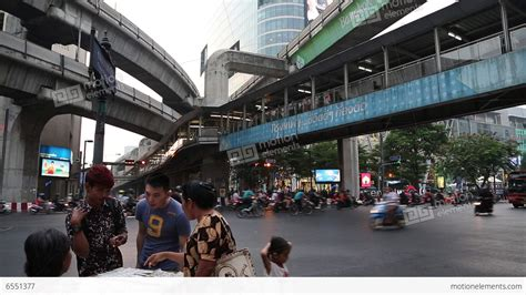 Thai People And Heavy Traffic In Bangkok, Thailand Stock