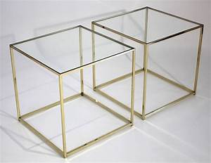 Brass and glass cube side tables at 1stdibs for Glass cube coffee table