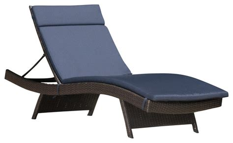lakeport outdoor wicker adjustable chaise lounge with navy