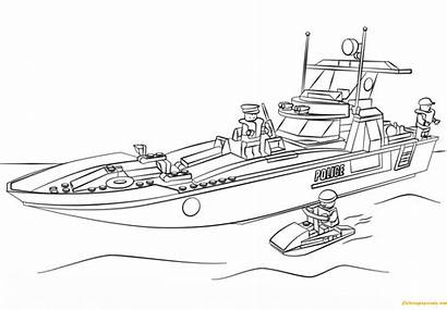 Lego Police Patrol Boat Pages Coloring