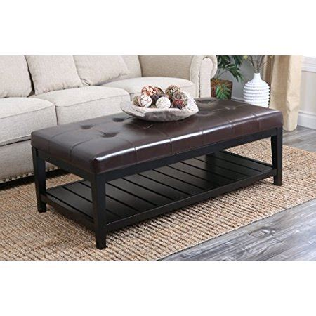 Brown Leather Ottoman Coffee Table by Abbyson Living Laurel Brown Bicast Tufted Leather