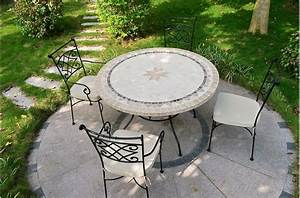 Table Exterieur Mosaique. table de jardin mosaique ronde en pierre 4 ...