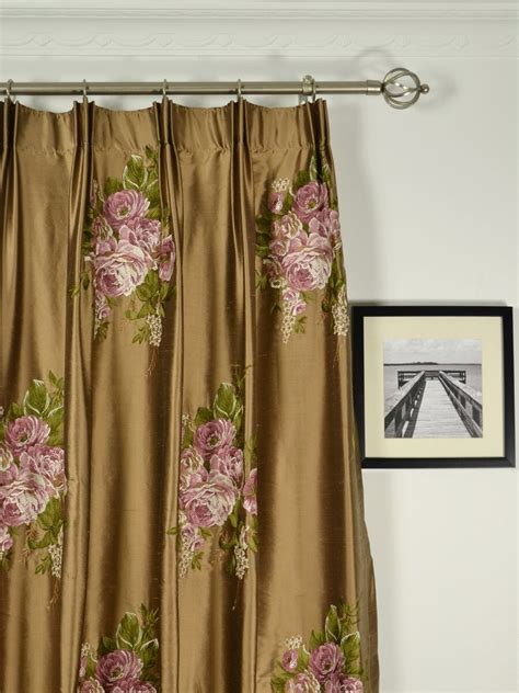 Draperies And Curtains by Rainbow Embroidered Camellia Dupioni Custom Made Curtains