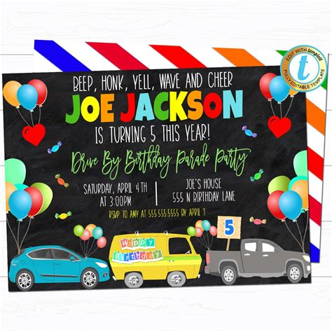 Drive By Birthday Party Invitation TidyLady Printables