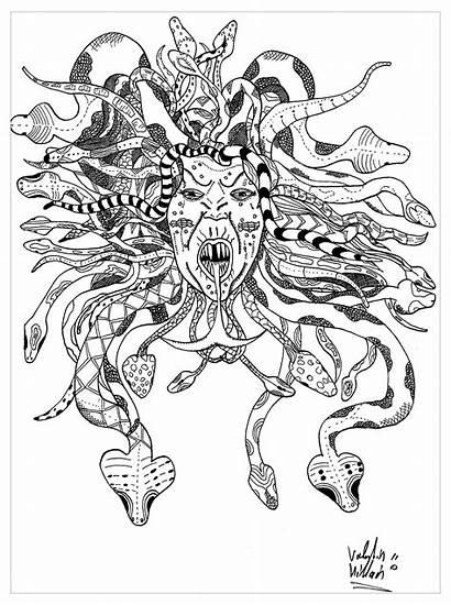 Coloring Medusa Pages Adults Legends Myths Valentin