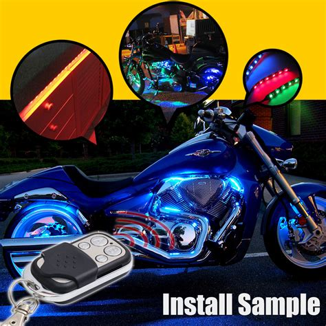 Led Motorcycle Lights by 8x Rgb Led Motorcycle Lighting Neon Glow Lights Strips Kit