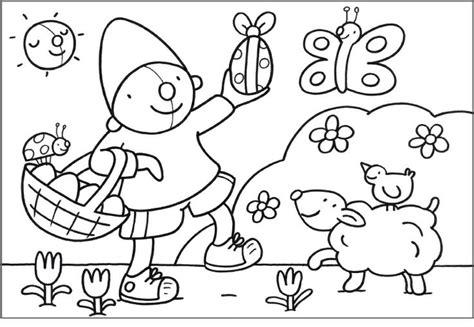 Kleurplaat Pompom Lente kleurplaat pompom pasen thema lente en pasen