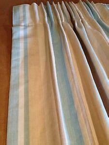 laura ashley awning stripe duck egg curtains hand sewn   measure ebay