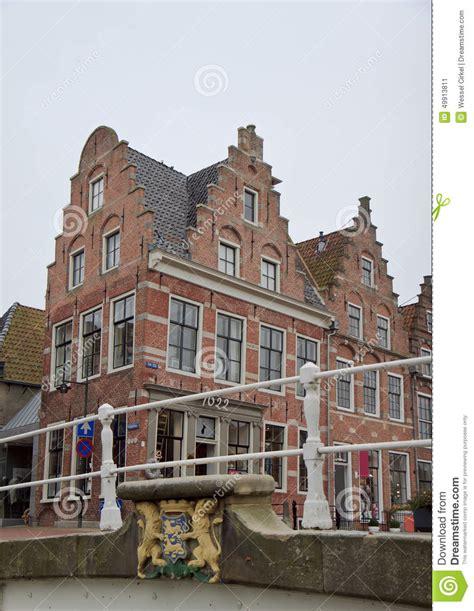 Century Tile by Stepped Gables In Historical Dokkum Netherlands Stock