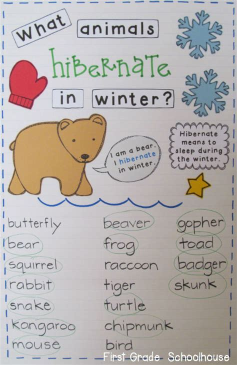 grade schoolhouse learning about animals that hibernate 502 | Hibernation%2BChart
