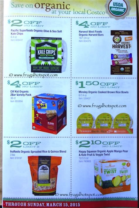 Costco ORGANIC Coupon Book: 2/16/15   3/15/15.   Frugal Hotspot
