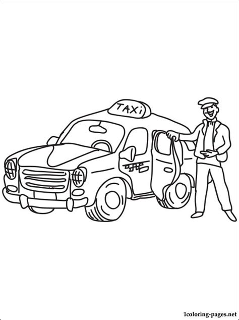taxi driver coloring page coloring pages