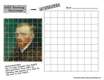 grid drawing challenge art history worksheets set